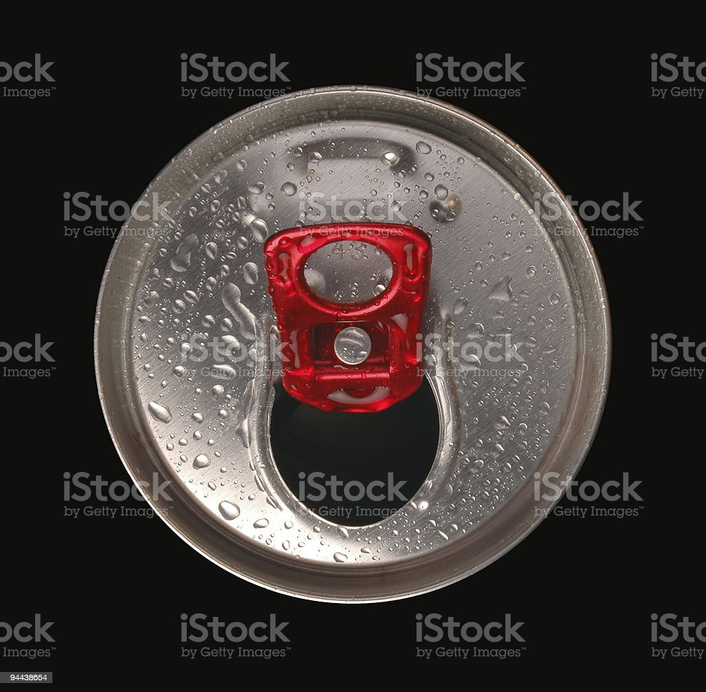 Close-up of aluminum drink can stock photo