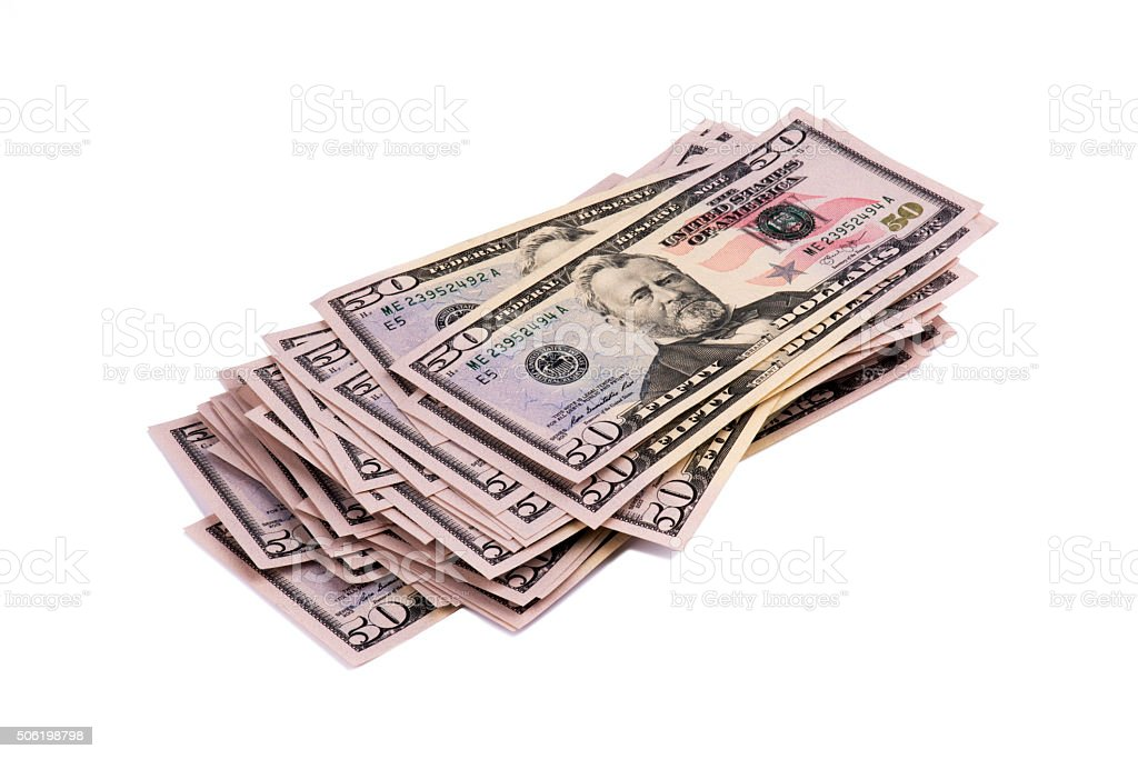 Close-up of American Fifty Dollars Bill stock photo
