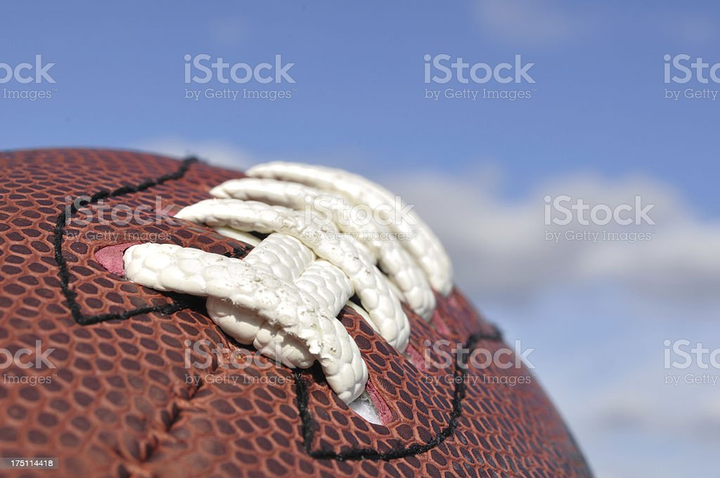 Close-up of American Football Texture and Laces royalty-free stock photo