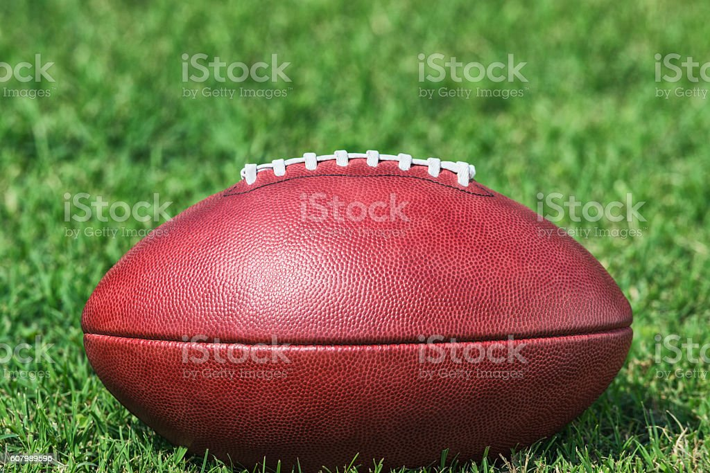Close-up of an American Football's side sitting in the grass stock photo