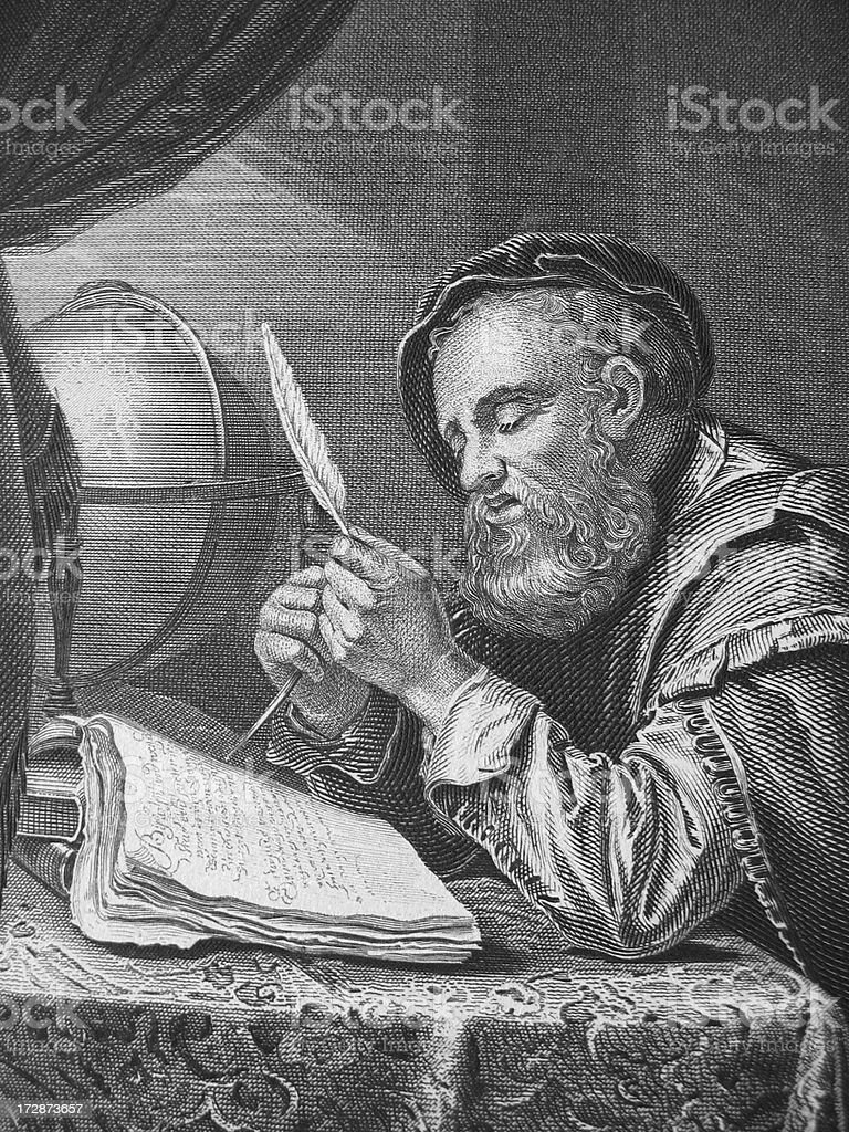 close-up of an antique etching depicting a scientist or merchant stock photo