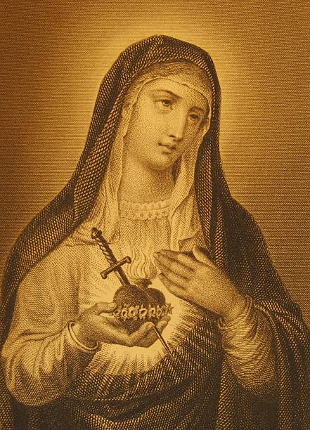 nahaufnahme von einem antiken stich, das saint mary - engel zeichnen stock-fotos und bilder