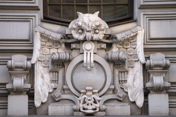 Closeup of an Art Nouveau Ornament of a building in Riga, Latvia stock photo