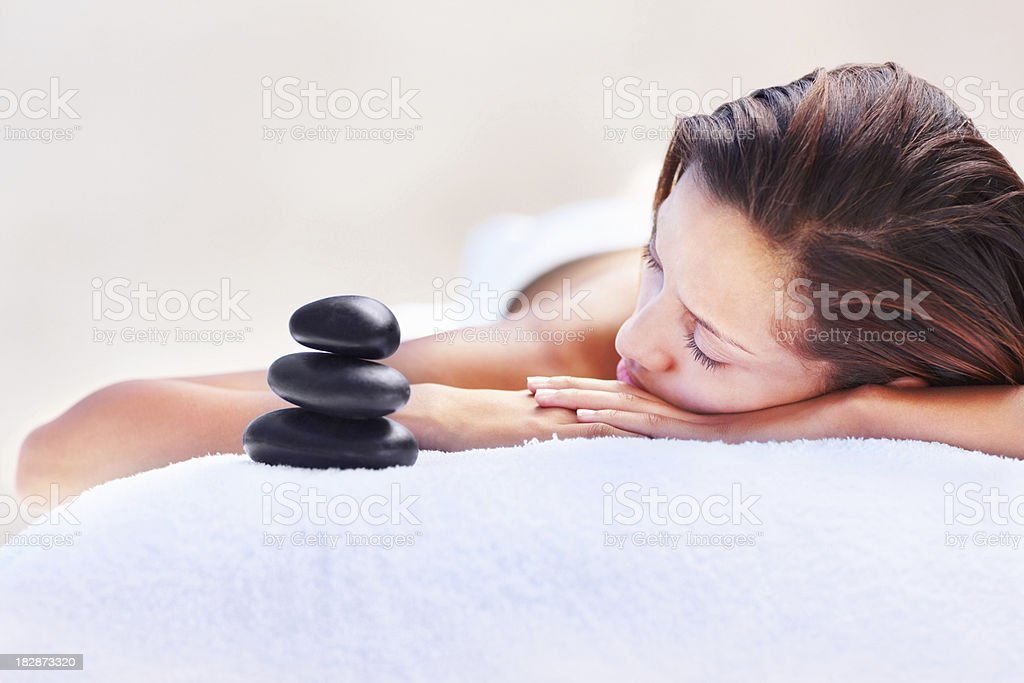 Close-up of an attractive young woman lying on front royalty-free stock photo