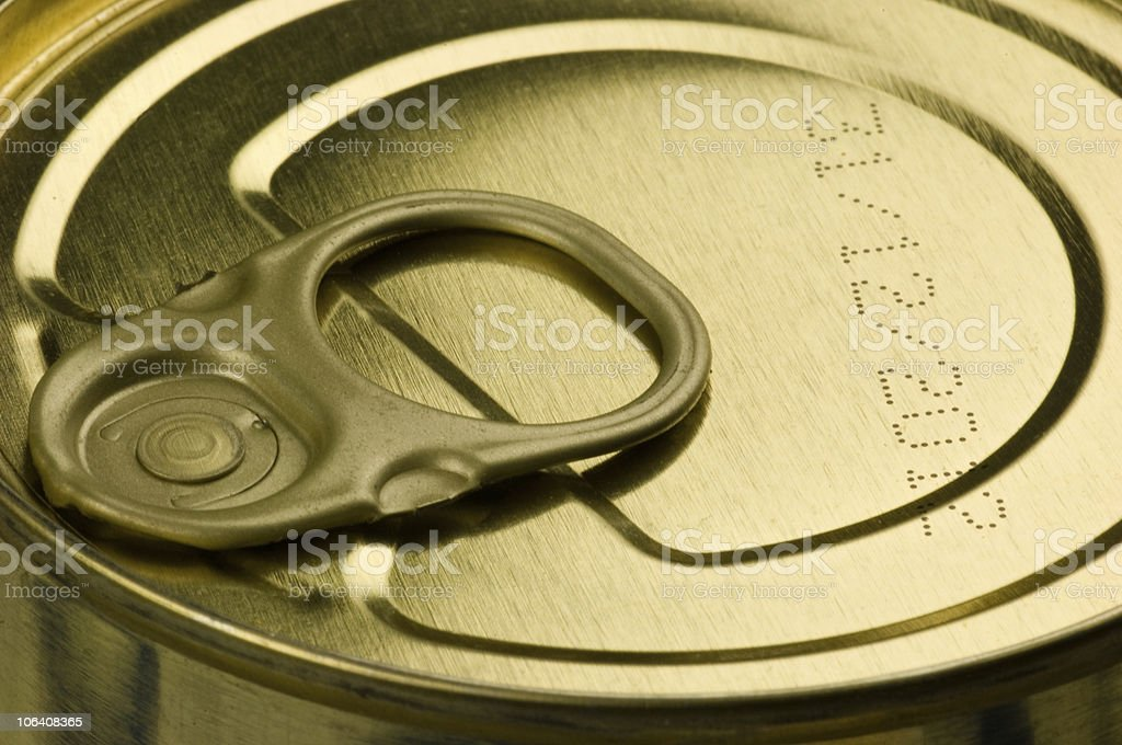 Close-up of an easy open tin and laser etched use-by date royalty-free stock photo