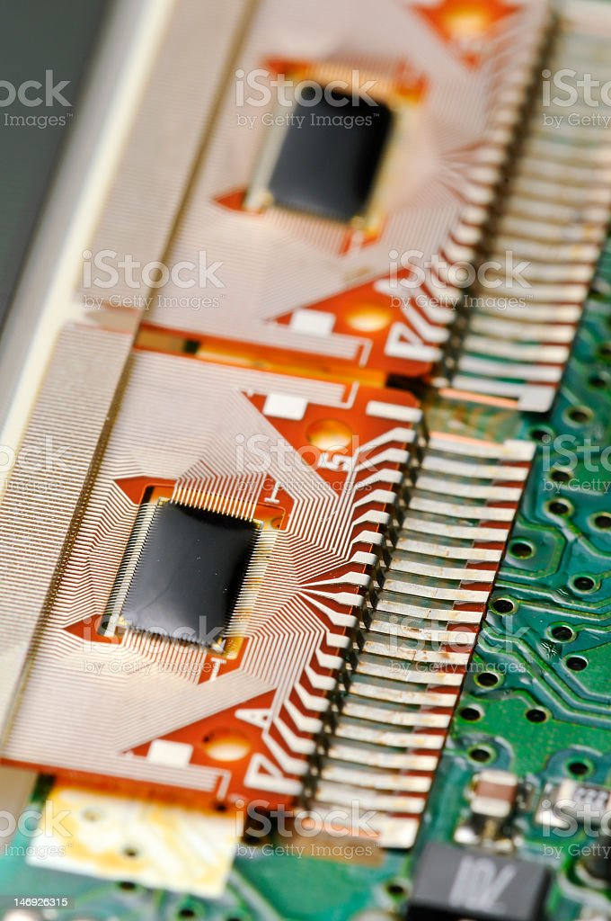 Closeup of an electronic board for LCD screen royalty-free stock photo