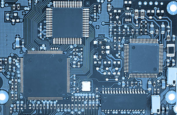 Close-up of an electronic circuit board stock photo