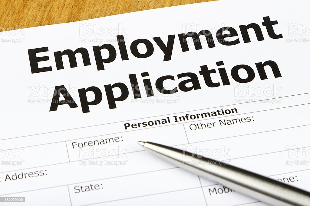 Close-up of an Employment Application Form stock photo
