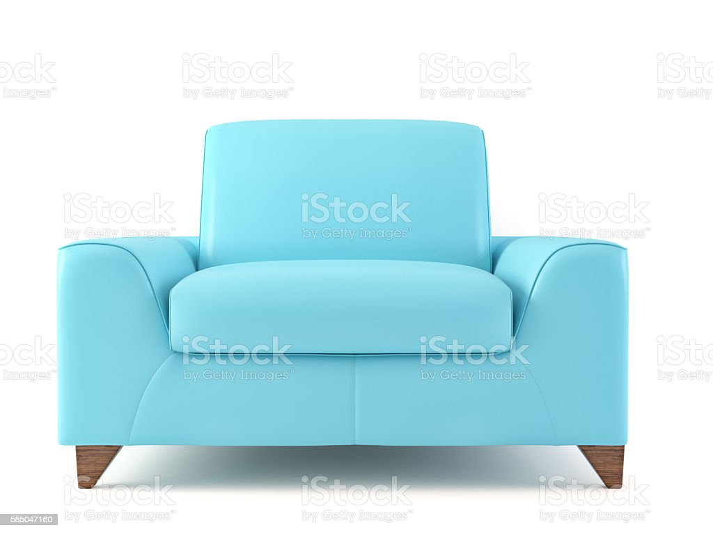 Close-up of an empty blue  armchair stock photo