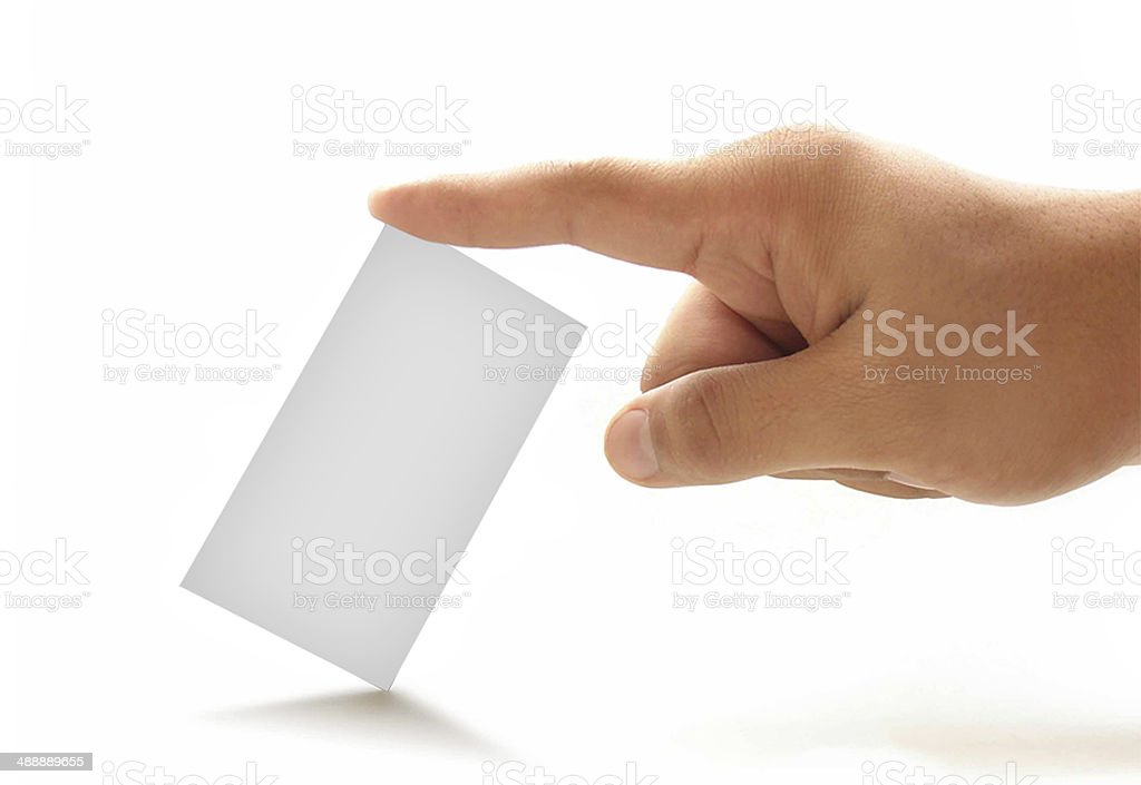 Close-up of an empty business card stock photo