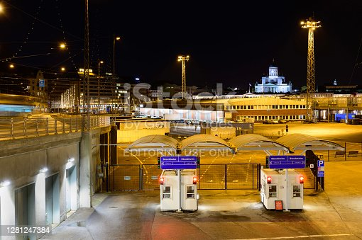 Helsinki/Finland - JANUARY 9, 2020: Closeup of an empty check-in gate in the port of Eteläsatama, Helsinki.  The ferry route to Stockholm is operated by Silja Line.