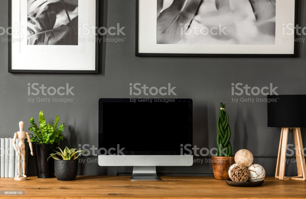 Close-up of an empty computer screen with a place for your graphic next to a plant, lamp and decorative balls. Real photo - Royalty-free Apartment Stock Photo