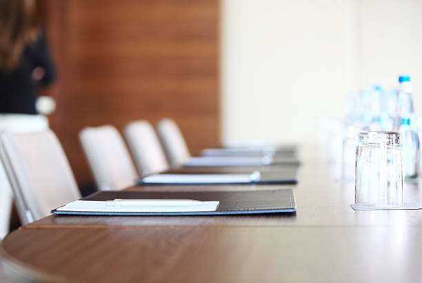 Closeup of an empty conference room before meeting stock photo