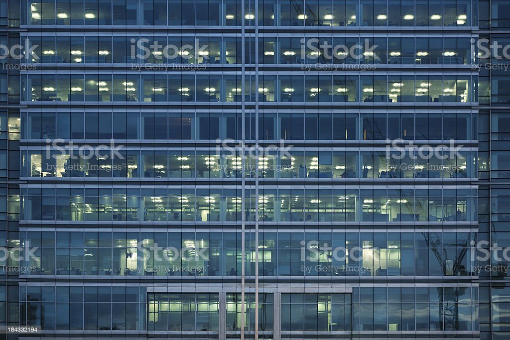 Close-up of an illuminated office building in London royalty-free stock photo