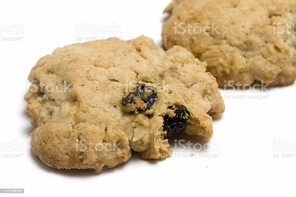Closeup of an oatmeal raisin cookie stock photo