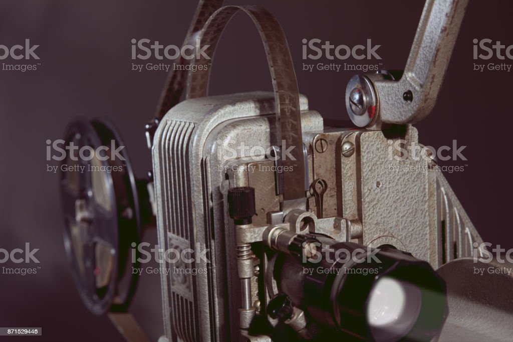 Close-up of an old film projector. stock photo