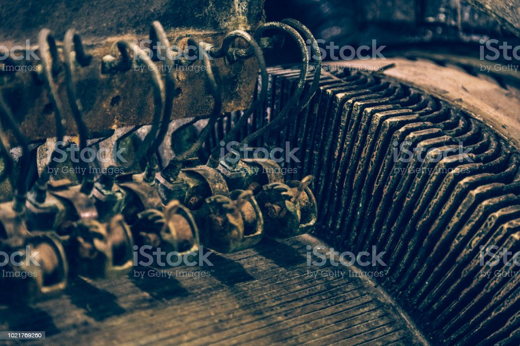 Close-up of an old industrial alternator dating back to the early 1900s. stock photo