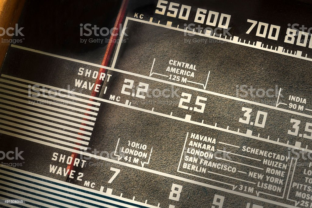 Closeup Of An Old Radio Tuner Station Dial Stock Photo