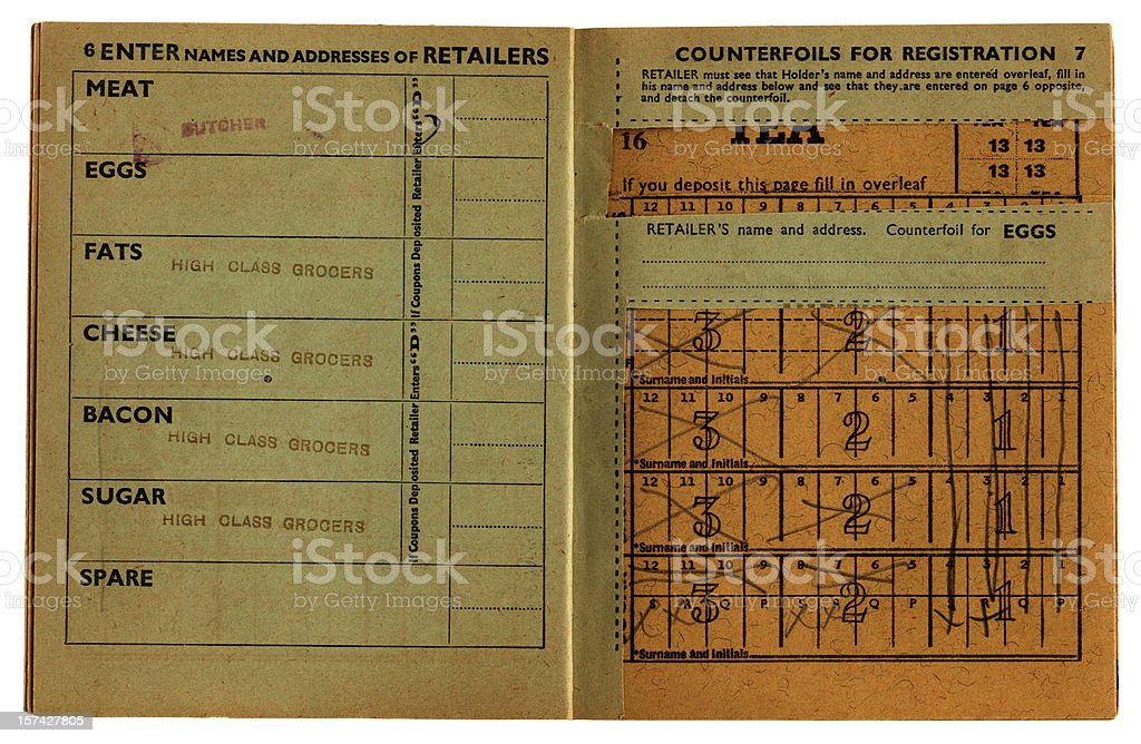 Closeup of an old, used British ration book opened up.  stock photo