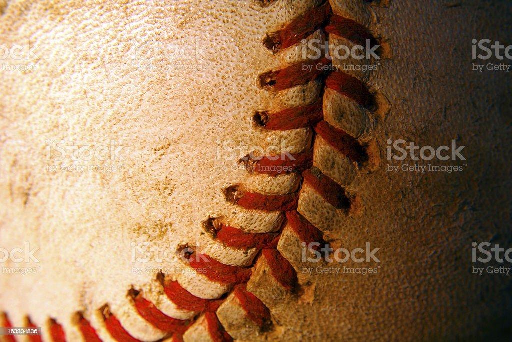 Closeup of an old, weathered baseball royalty-free stock photo