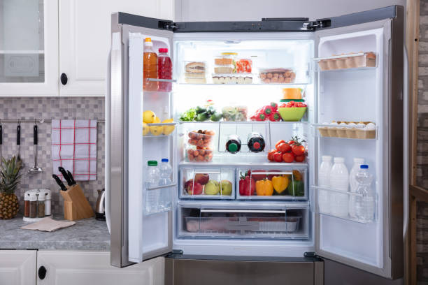 Close-up Of An Open Refrigerator An Open Refrigerator Filled With Fresh Fruits And Vegetables fridge stock pictures, royalty-free photos & images