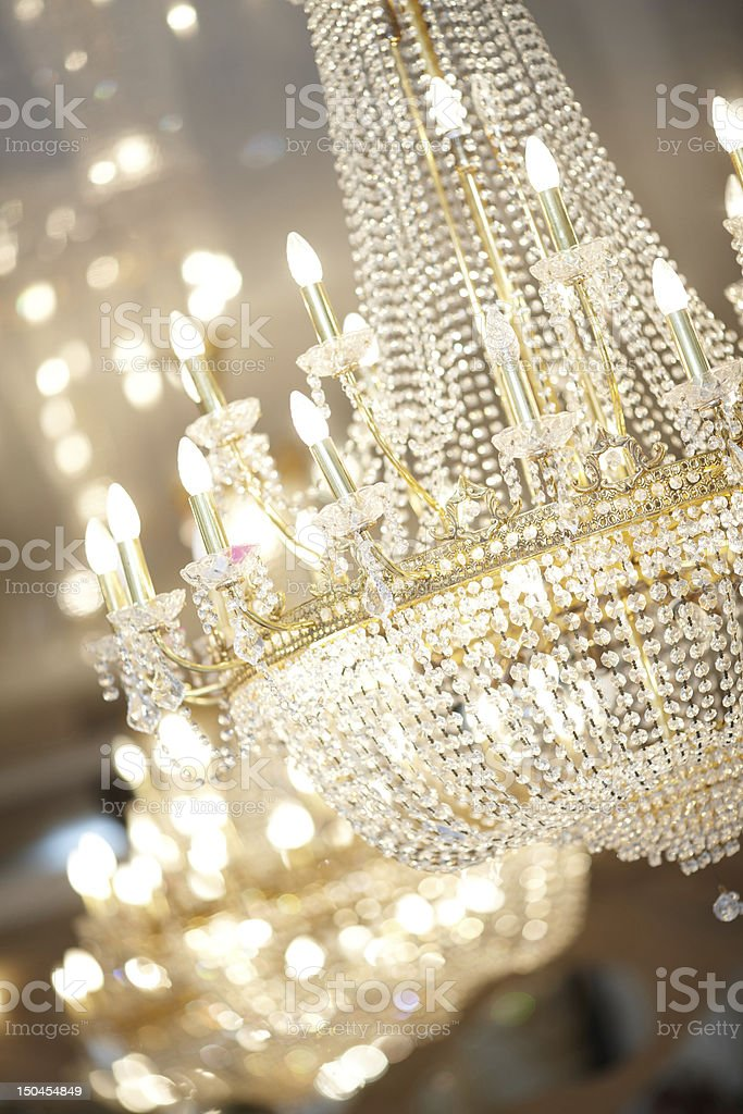 Close-up of an ornate crystal chandelier stock photo