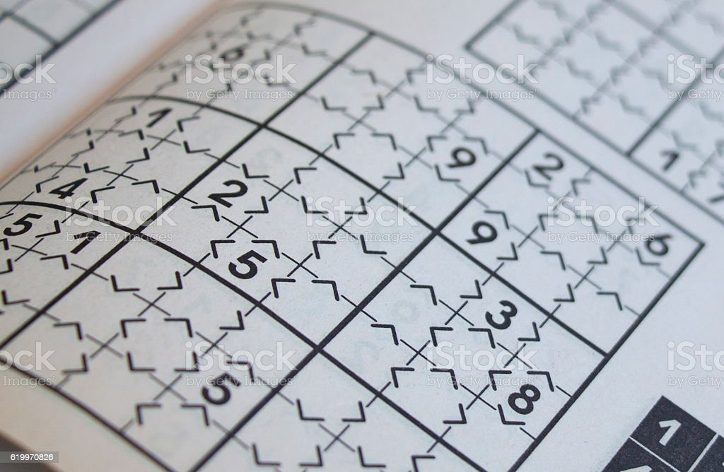 closeup of an unfinished sudoku puzzle stock photo