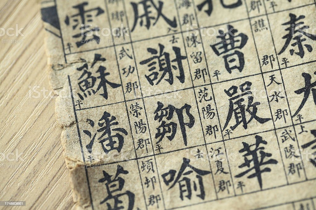 Close-up of ancient Chinese book page royalty-free stock photo