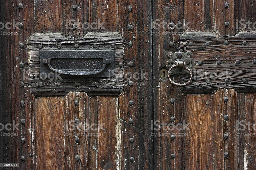 Close-up di porte in legno antico, foto stock royalty-free
