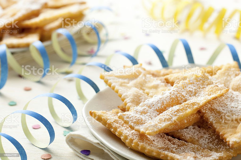 Close-up of Angel Wings Chiacchiere on a festive table stock photo