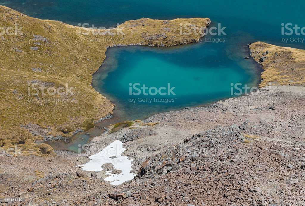 closeup of Angelus lake in Nelson Lakes National Park stock photo