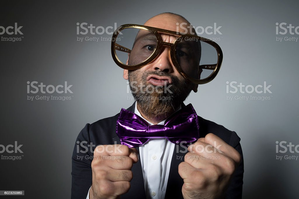 close-up of angry sunglasses man. stock photo