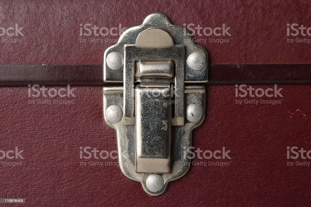 Close-up of antique brown hard case lock royalty-free stock photo