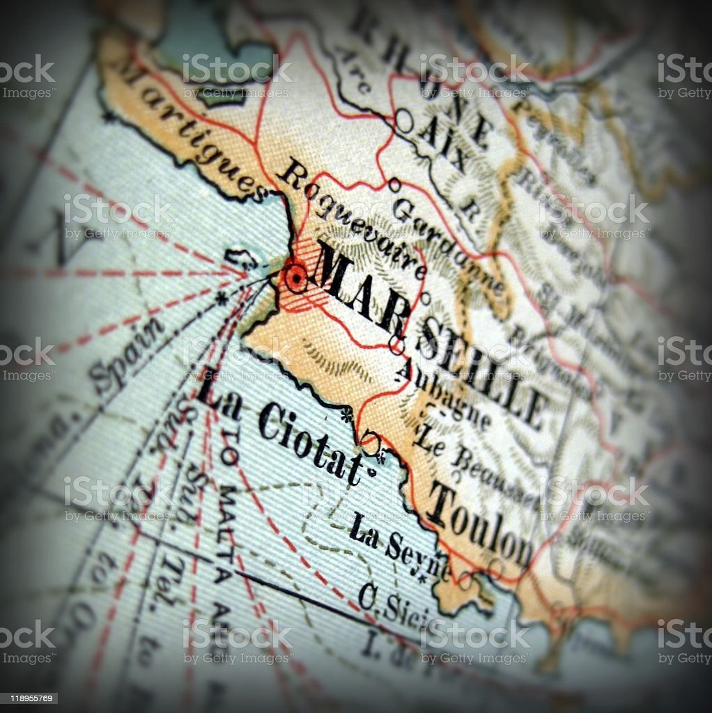 Map Of France Showing Marseille.Closeup Of Antique Map Showing Marseille Stock Photo Download