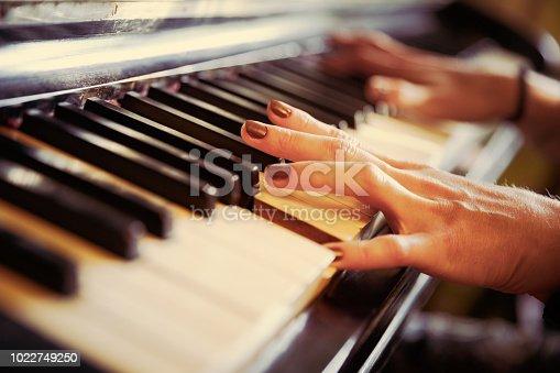 istock Closeup of antique piano keys and wood grain. 1022749250