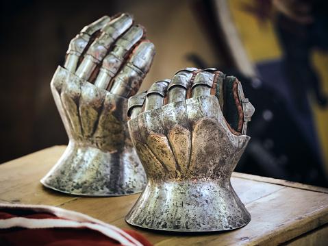 Closeup of antique steel gloves