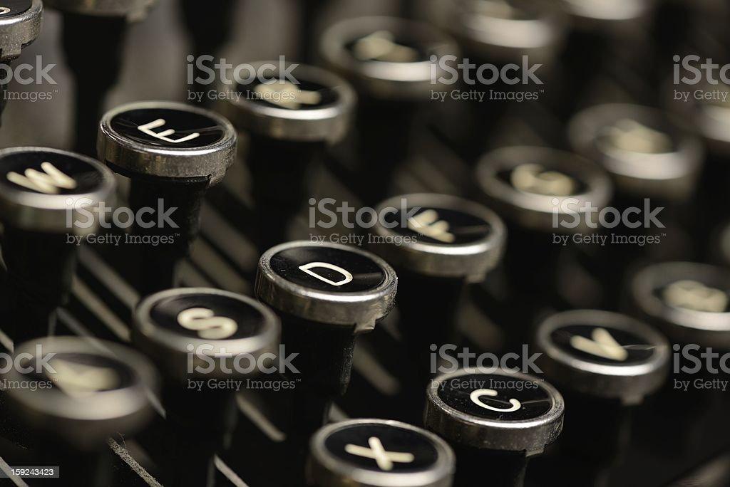 Close-up of antique typewriter keys stock photo