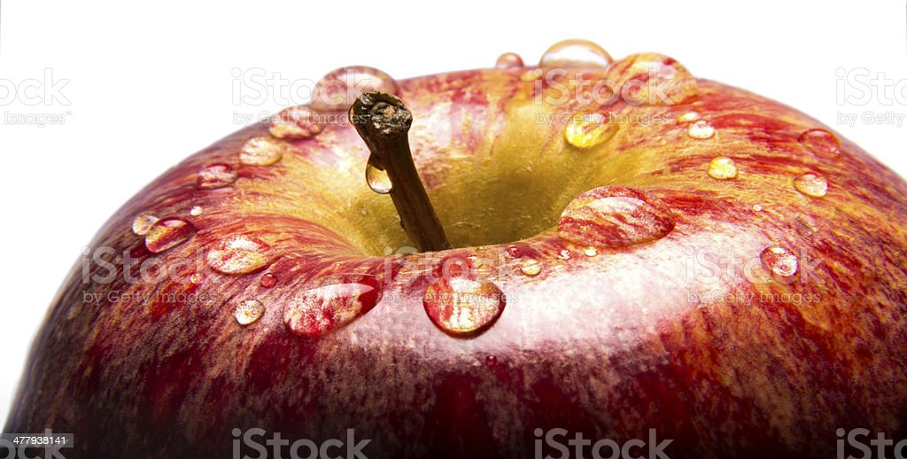 Closeup of Apple with Water Droplests stock photo
