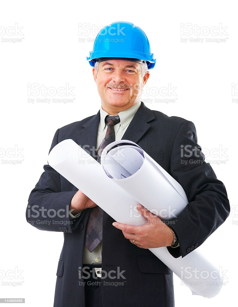 Close-up of architect wearing blue hard hat and holding blueprints royalty-free stock photo