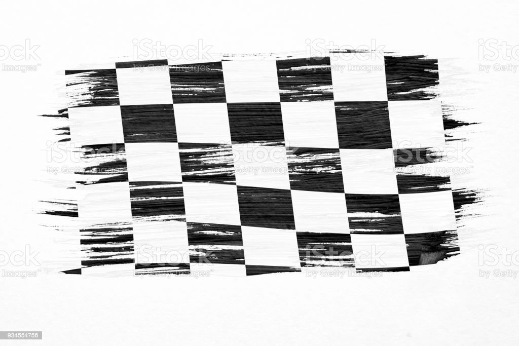 Closeup of art brush watercolor painting checkered black and white racing flag blown in the wind isolated on white. stock photo