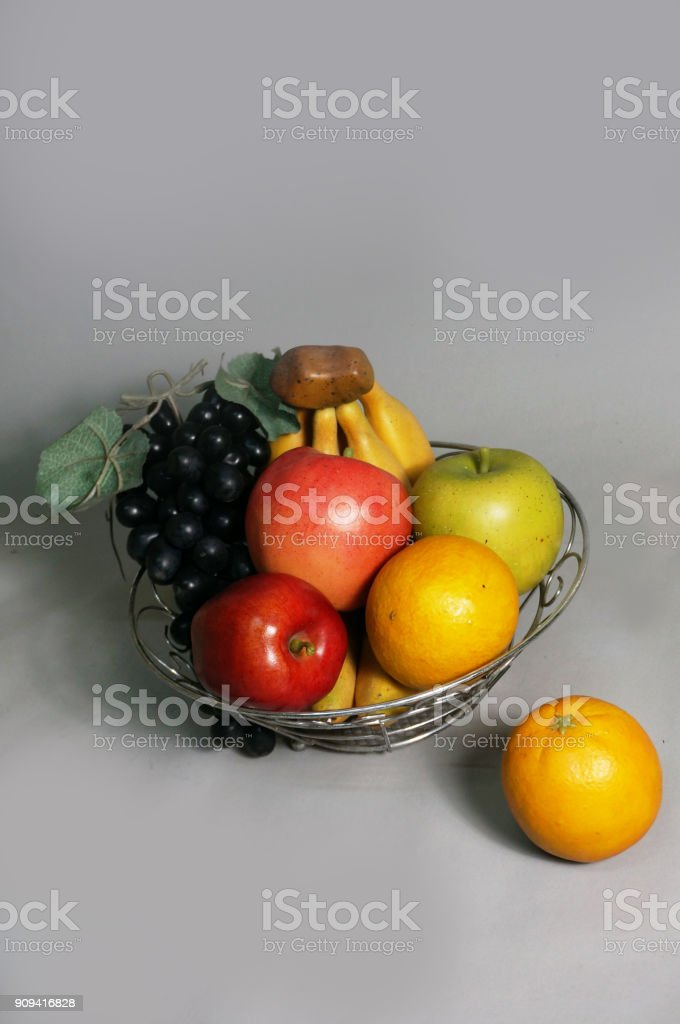 Closeup of Artificial mixed fruits plastict stock photo
