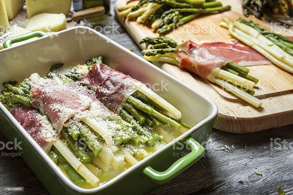 Closeup of asparagus rolled in ham and cheese royalty-free stock photo