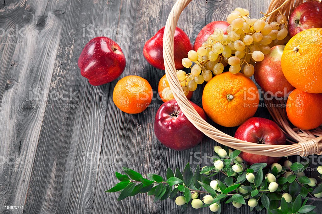 Close-up of assorted fresh juicy fruits stock photo