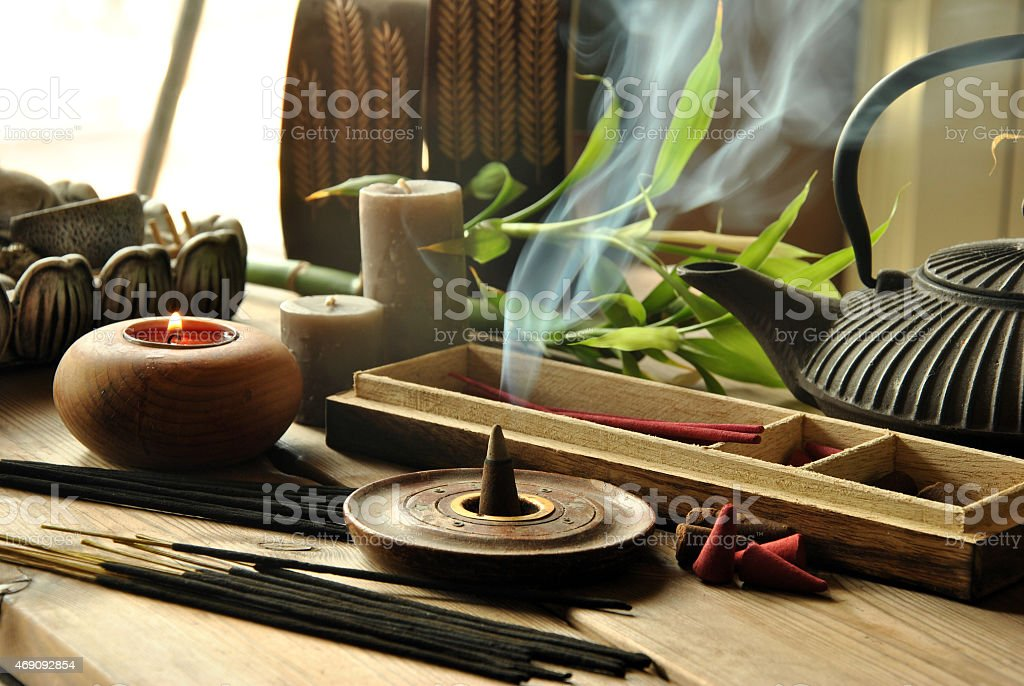 Close-up of assorted incense products representing Zen idea stock photo