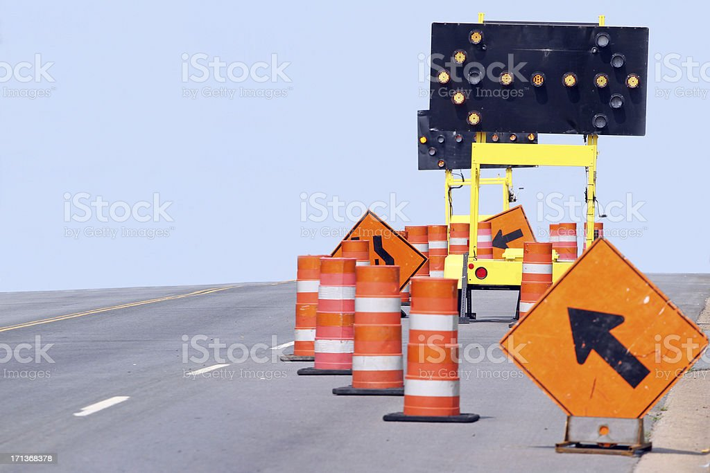 Close-up of assorted traffic control equipment and tools stock photo