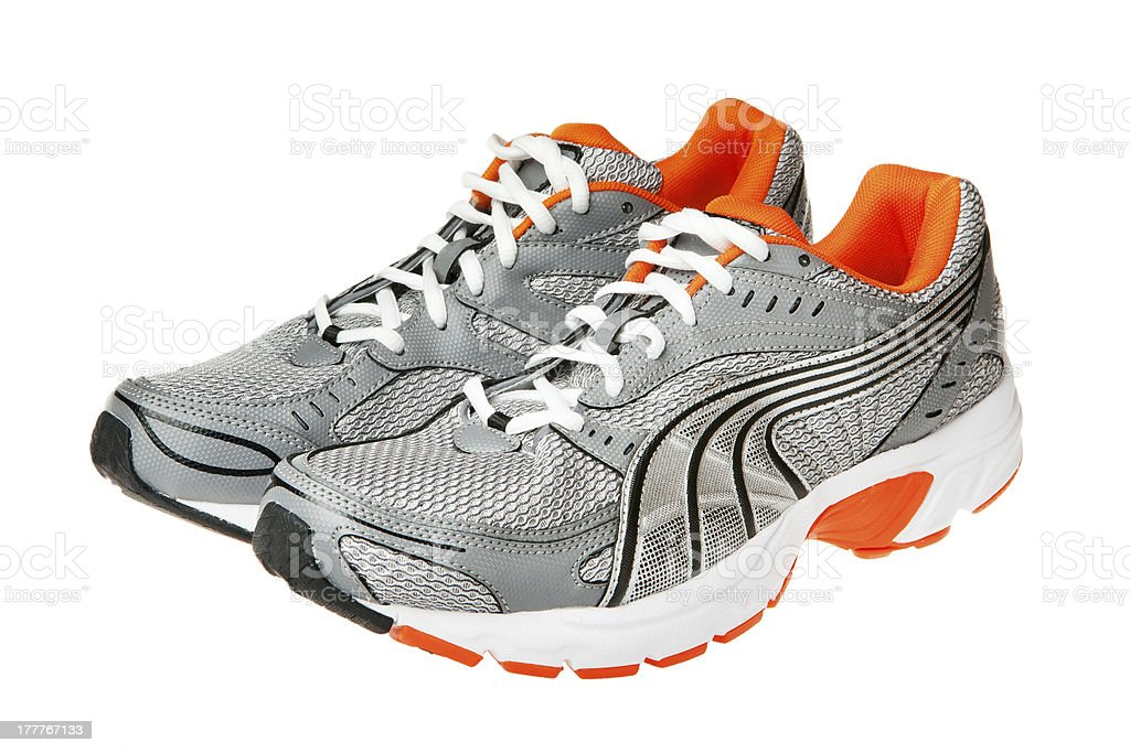 Close-up of athletic shoes on white background stock photo