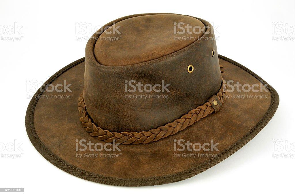 Closeup of Australian bush hat isolated on white background stock photo