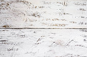 istock Close-up  of background from wooden boards with old white paint . 1181077502
