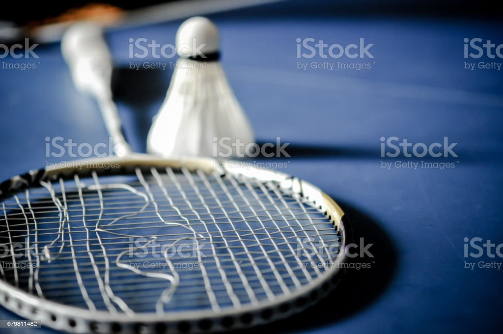 Close-up of badminton racket absence and badminton shuttle cock stock photo