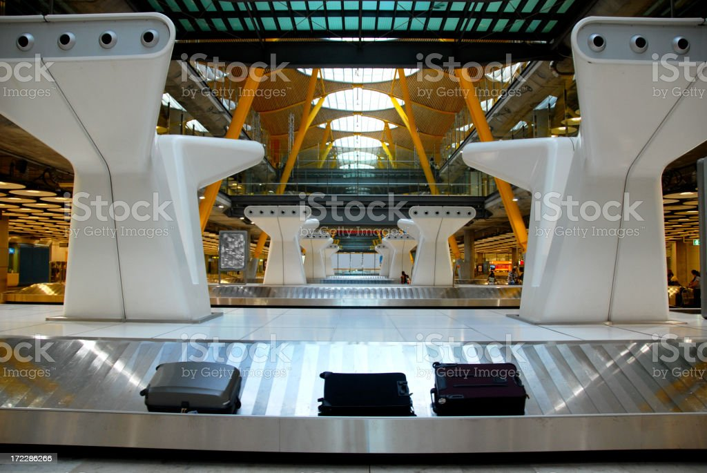 Close-up of baggage claiming track of Madrid in Spain stock photo